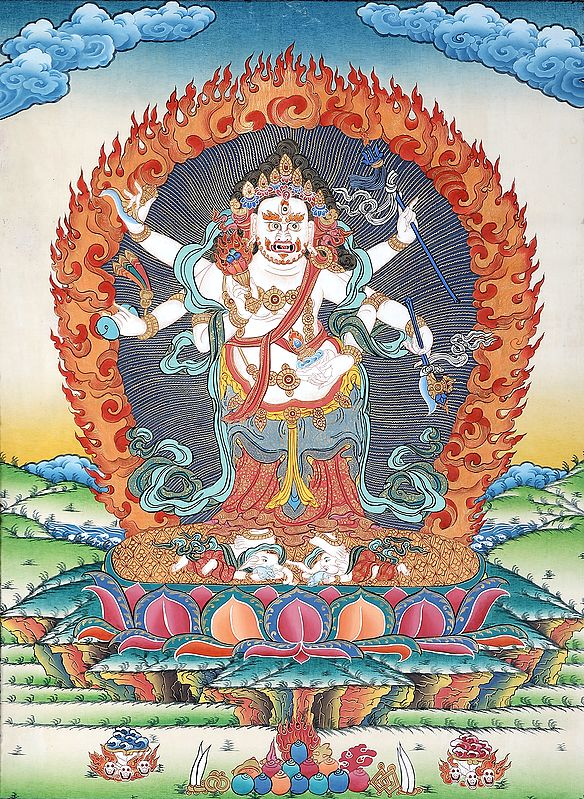 Tibetan Buddhist Six Armed White Mahakala