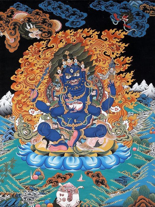 Tibetan Buddhist Four-Armed (Chatur-bhuja) Mahakala (mGon po phyag bzhi pa)