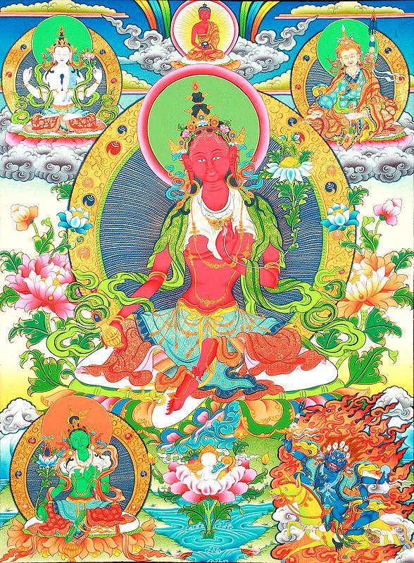 Superfine Red Tara with Vase of Long Life - Tibetan Buddhist