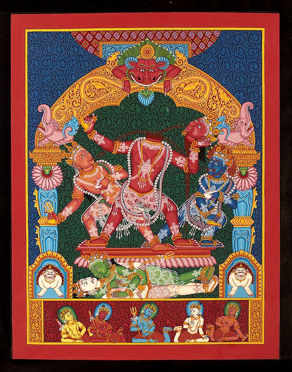 Goddess Mahavidya Chhinnamasta in Newari Style (Brocadeless Thangka)
