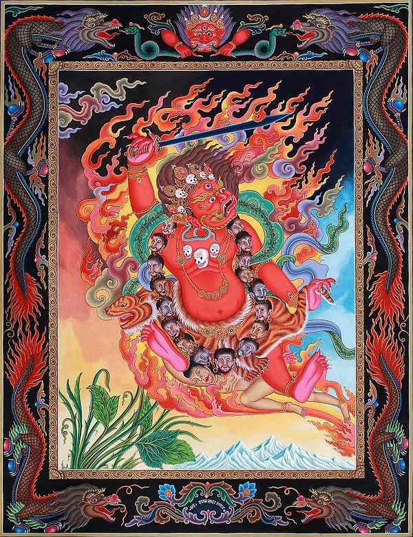 Superfine Two-Armed Mahakala -Tibetan Buddhist Thangka Without Brocade