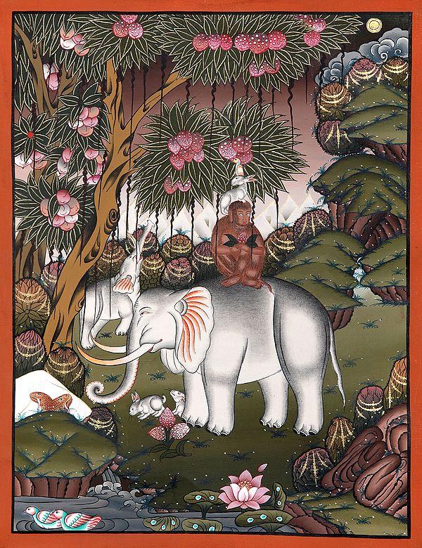 The Banyan Tree And The Four Harmonious Brothers (Brocadeless Thangka)
