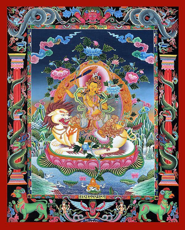 Superfine Tibetan Buddhist Deity Manjushri Seated on Lion - Brocadeless Thangka in Newari Style