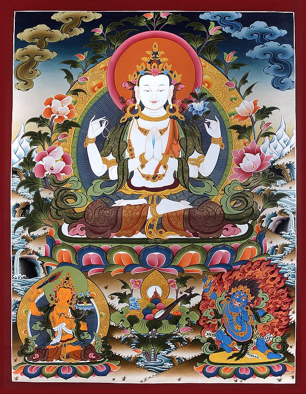 Superfine Four-Armed Avalokiteshvara (Super Large Chenrezig) - Tibetan Buddhist  Brocadeless Thangka