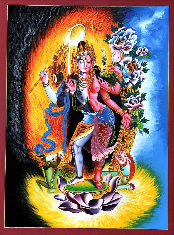 Ardhanarishvara (Shiva Shakti) - Brocadeless Thangka