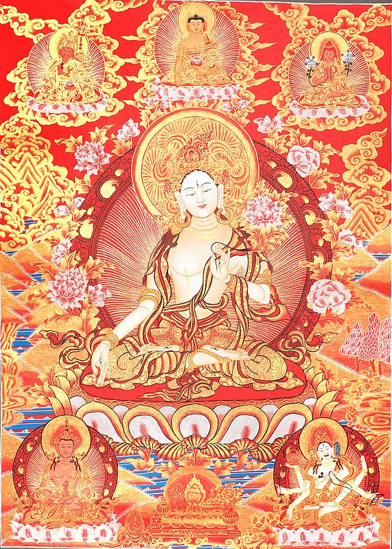 Tibetan Buddhist Goddess White Tara -Goddess of Long Life (Thangka Without Brocade)