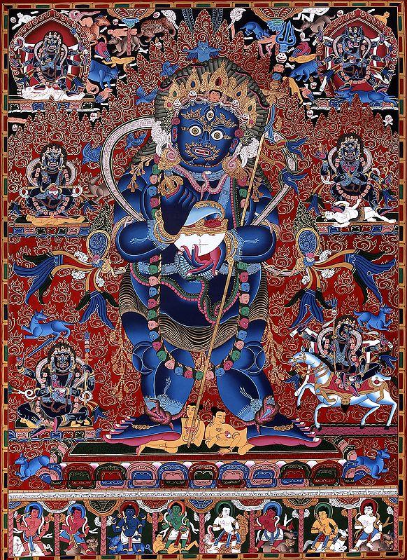 Two Armed Standing Mahakala - Superfine Brocadeless Thangka