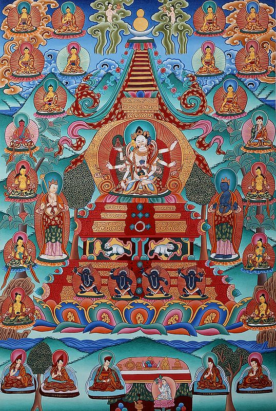 Tibetan Buddhist Vijaya Stupa: For Long Life of The Patron (Brocadeless Thangka)
