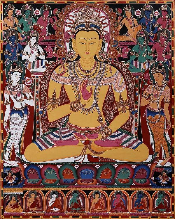 The Buddha Amoghasiddhi, Surrounded By The Dhyani Buddhas (Tibetan Buddhist Brocadeless Thangka)
