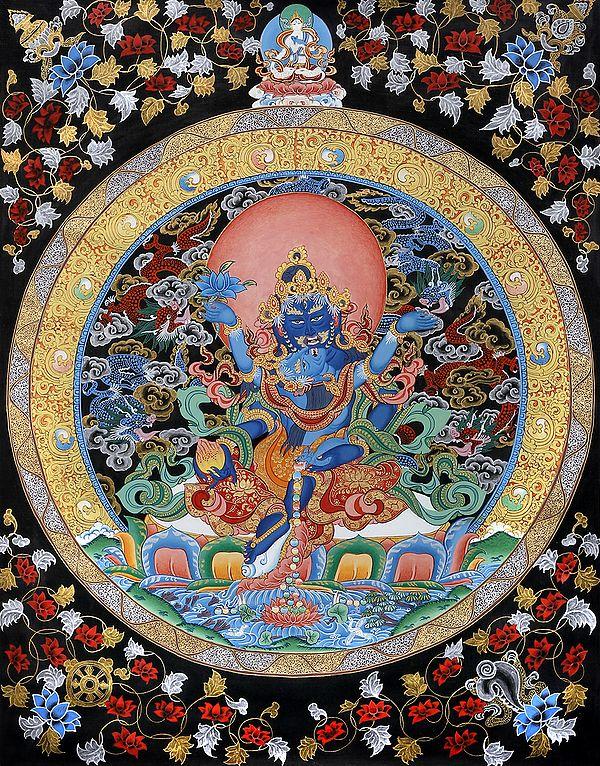 Jambhala with Consort - Tibetan Buddhist (Brocadeless Thangka)