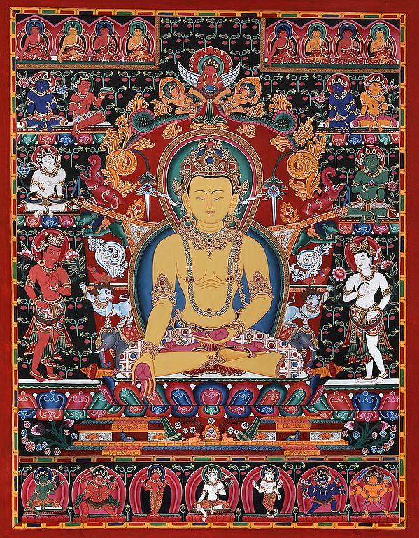 Dhyani Buddha Ratnasambhava - Tibetan Buddhist (Brocadeless Thangka)