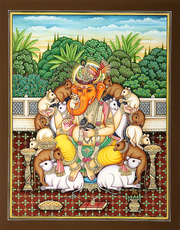 Rajasthani Turbaned Ganesha Surrounded by the Happy Rats