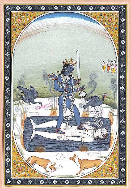 Kali Standing on Shiva