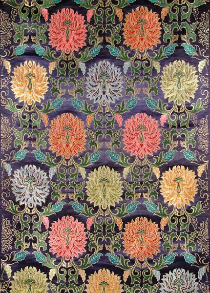 Banarasi Hand-woven Brocade Fabric with Large Multi-Colored Woven Flowers