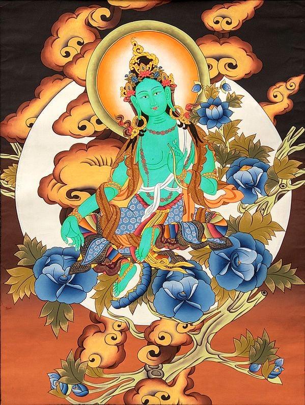 Tibetan Buddhist Deity, Green Tara, Amidst A Plethora Of Clouds