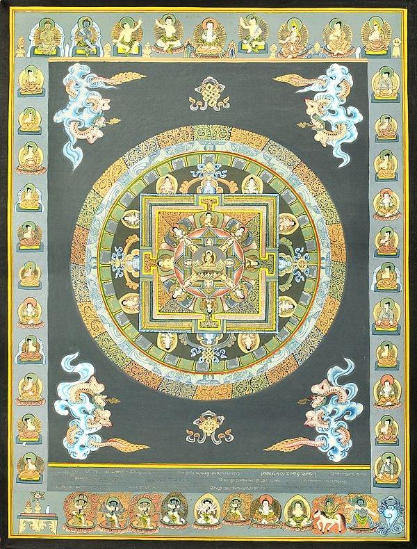 The Buddha Mandala -Tibetan Buddhist Brocadeless Thangka