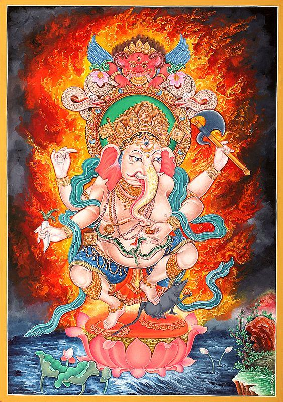 Newari Styled Four Armed Dancing Ganesha -   Brocadeless Thangka