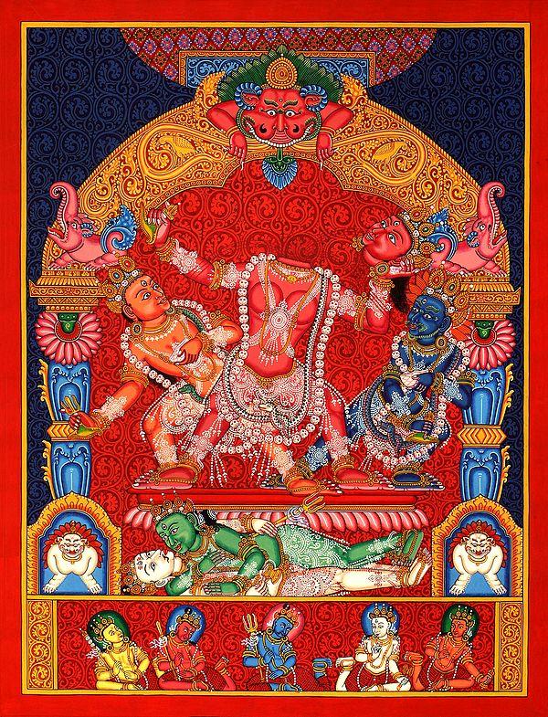 Mahavidya Chinnamasta in Newari Style - Brocadeless Thangka