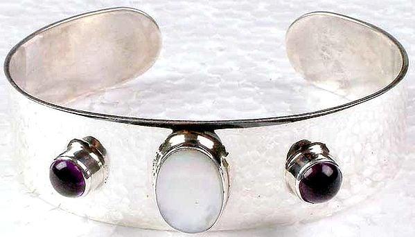 Amethyst and Shell Cuff Bracelet