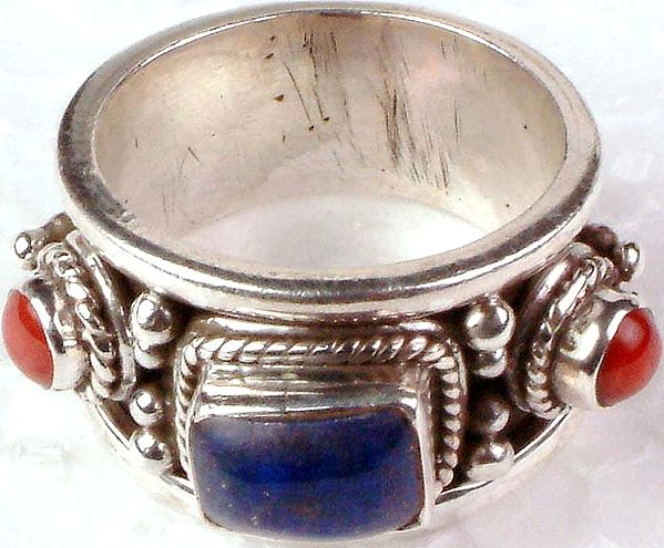 Lapis Lazuli and Coral Ring