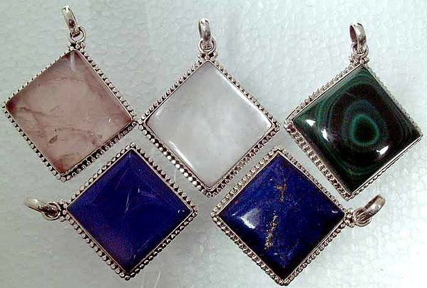 Lot of Five Rhombus Pendants (Lapis, Shell, Rose Quartz, Chalcedony and Malachite)