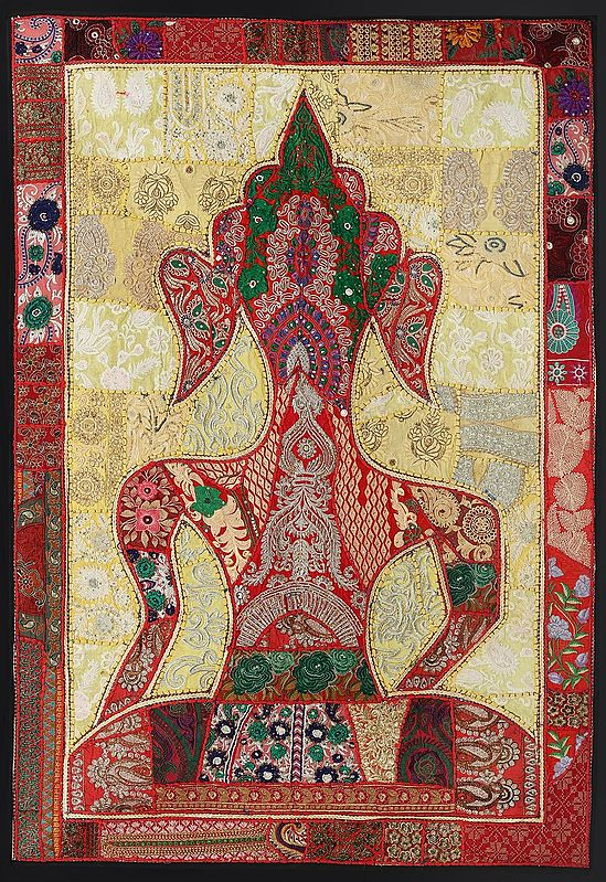 Poppy-Red Hand-Crafted Meditating Buddha Wall Hanging from Gujarat with Upcycled Embroidery Patchwork