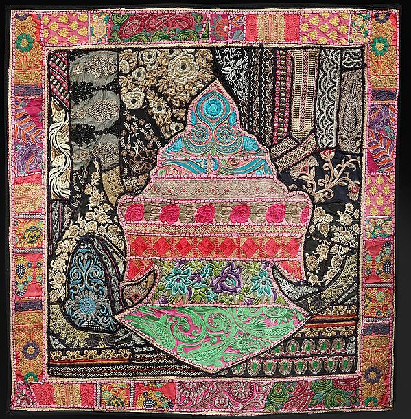 Flamingo-Pink Hand-Crafted Buddha Head Wall Hanging from Gujarat with Upcycled Embroidery Patchwork
