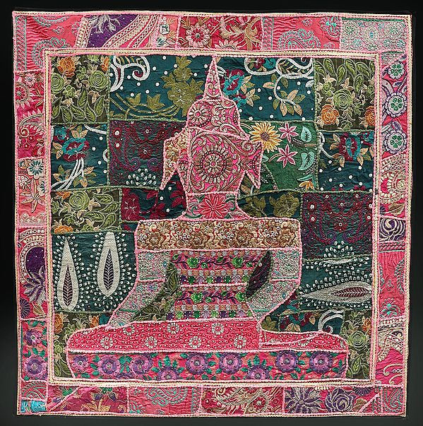 Prism-Pink Hand-Crafted Meditating Buddha Wall Hanging from Gujarat with Upcycled Embroidery Patchwork